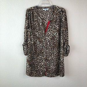 Daniel Rainn Leopard Print Blouse Size 1X